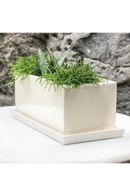 Doniczka Prostokątna Biała Ceramiczna Skrzyneczka S2 79991613
